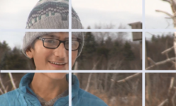 grid of 9 squares over a boy's face