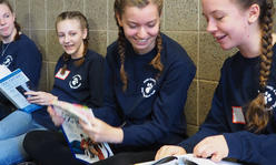 4-H'ers studying before quiz bowl event