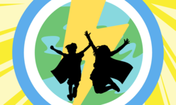 2 kids jumping with capes