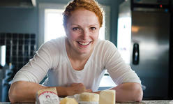 Woman with locally made cheese