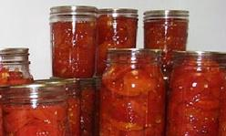 Jars of tomatoes.