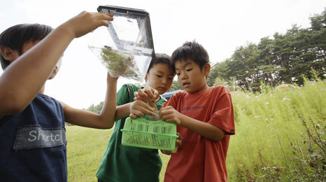 Two kids doing outdoor experiment.