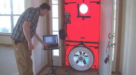 Blower door air testing.