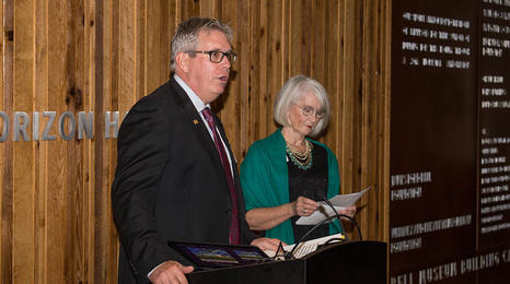 David Werner and Jeanne Markell speaking at an event.