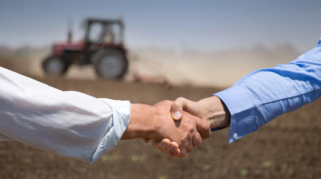 A handshake in a farm field