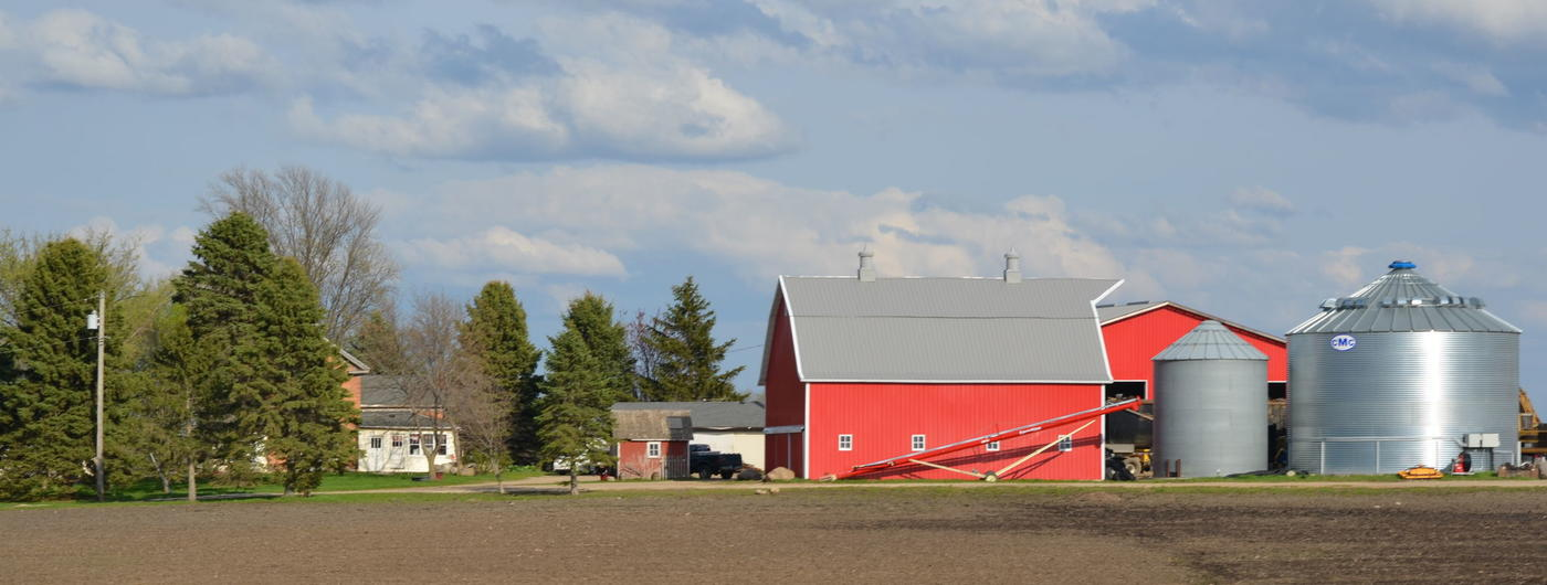 Farmstead with red barn