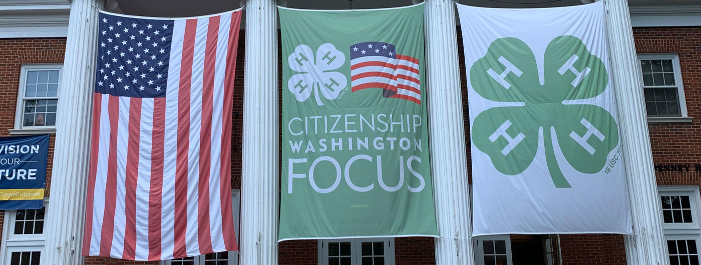 american and 4-H flags