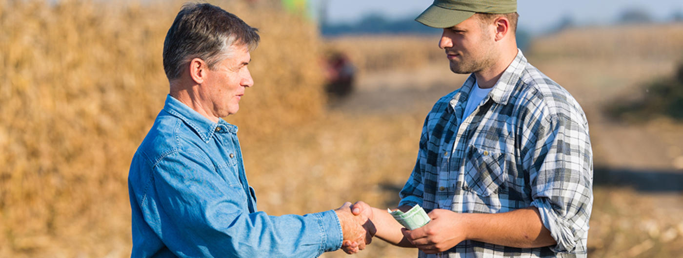 Man making deal with farmer