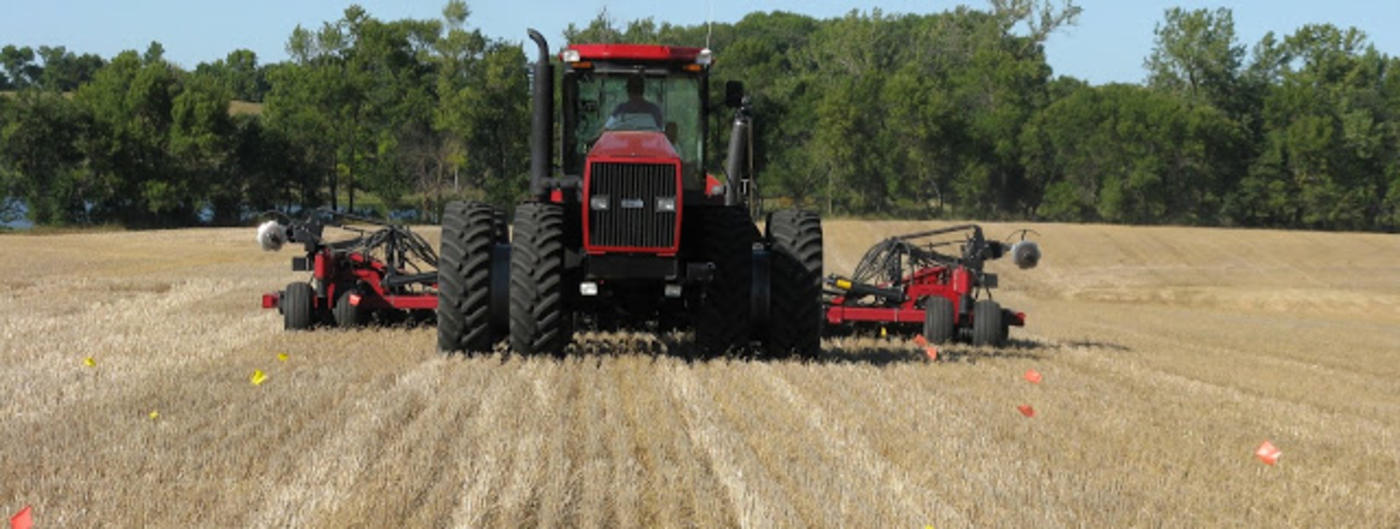 tractor in on-farm plots