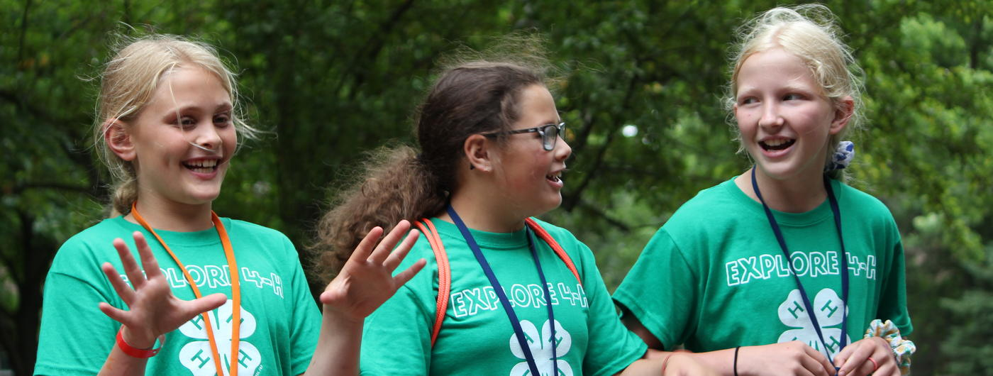 Three girls at 4-H camp