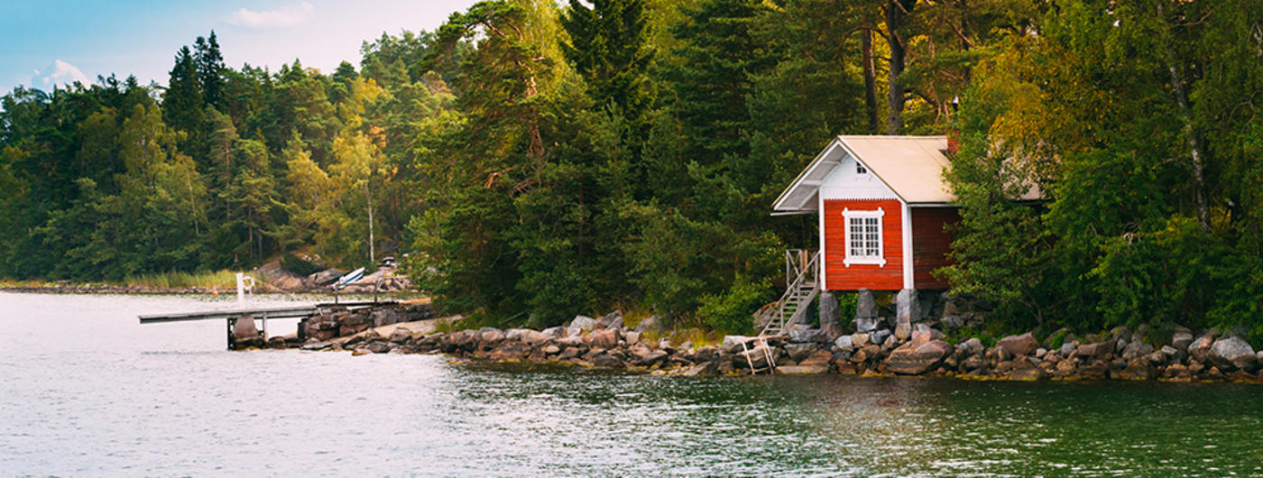 Red lake home on lake