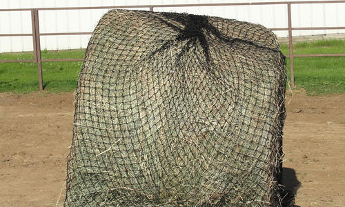 Cinch net wrapped around round bale.