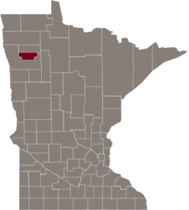 Red Lake County highlighted in map of Minnesota