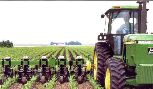 A green tractor pulling tillage equipment in a field of short plants. Tilling is being done between rows of plants.