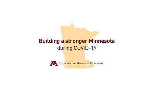 "thumbnail image for video shows Minnesota state outline and reads ""Building a stronger Minnesota during COVID-19"" with U of M Extension logo"
