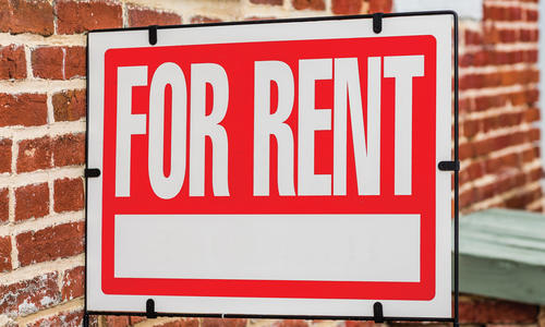 "Sign reading ""for rent"""