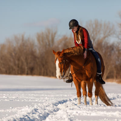 Woman riding a horse in the snow.