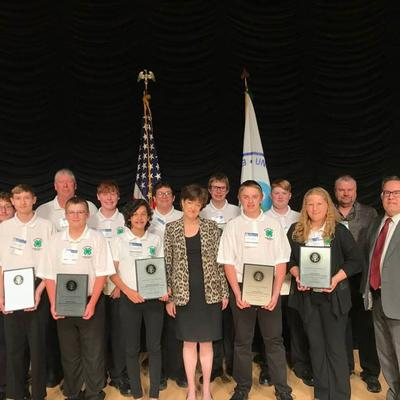The Big Stone County 4-H AIS Detectors receiving the President's Environmental Youth Award.