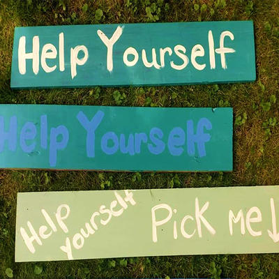 Help Yourself and help yourself Pick me signs