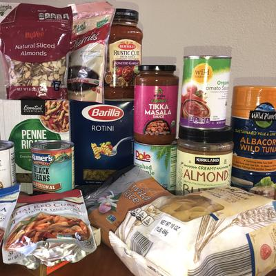 non-perishable foods like cans, pasta, sauces, tuna