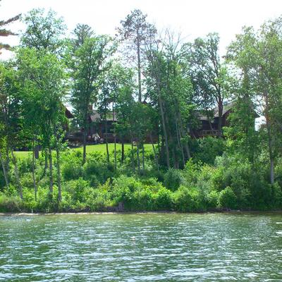 Lake cabin and adjacent shoreline.