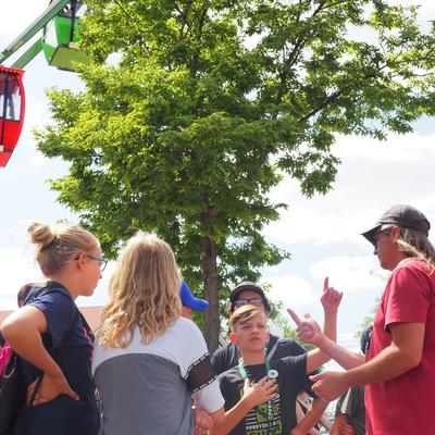 filmmaking youth group at state fair by ferris wheel