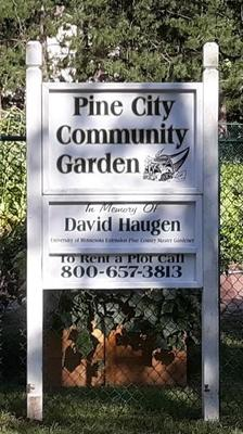 Pine City Community Garden sign