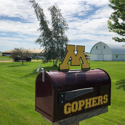 Minnesota Gophers mailbox with farm in background