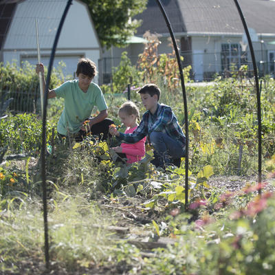 kids in a community garden