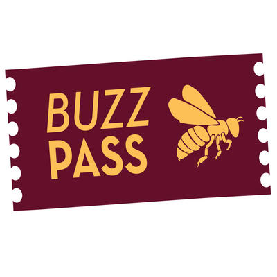 "Maroon ticket stub with the words ""Buzz Pass"" and a drawing of a bee in gold."