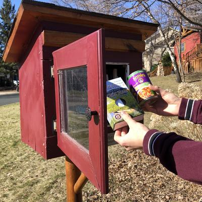 Young person places can and box of rice in Free Little Library