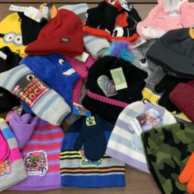 A pile of hats, mittens and socks.