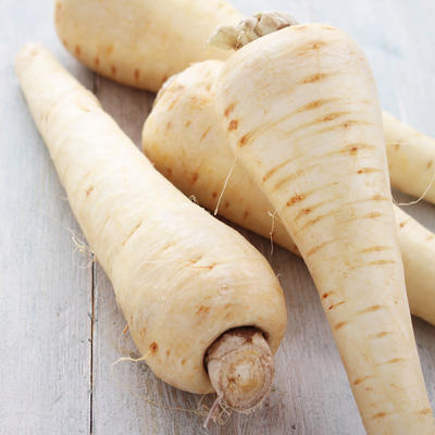 Harvested white parsnips on table