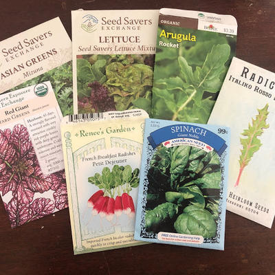 Seed packets for succession planting.