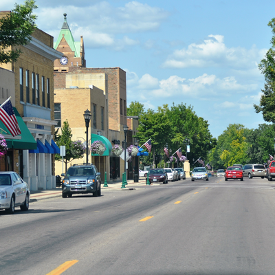 Shops and businesses in downtown Waseca, MN