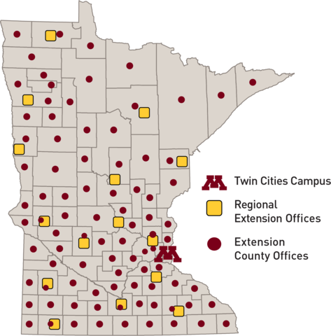 Map of Minnesota showing 15 regional offices and Extension offices in every county of the state