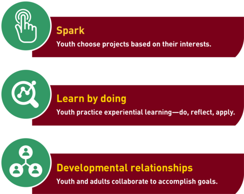Spark-youth choose projects based on their interests, Learn by doing-youth practice experiential learning and Developmental relationships-youth and adults collaborate to accomplish goals