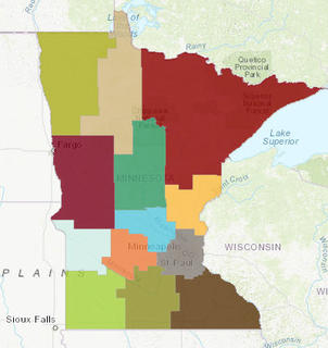 map showing regions of Minnesota