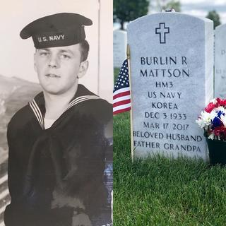 old black and white photo of navy soldier Burlin R Mattson next to color photo of his grave
