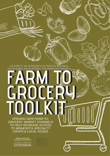 "A drawing of a shopping cart and vegetables with the words ""Farm to Grocery Toolkit""."