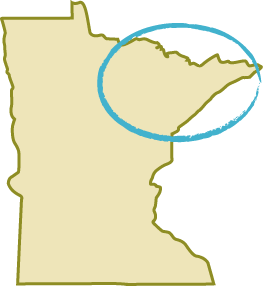 map of Minnesota with circle over northeast region of the state