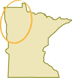 map of Minnesota with circle over northwest region of the state