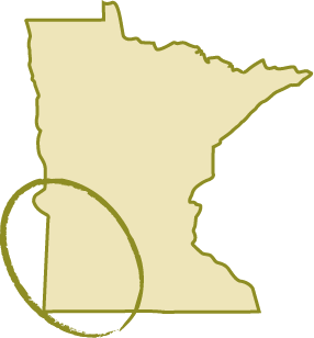 map of Minnesota with circle over southwest region of the state