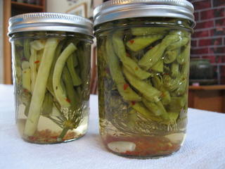 Jars of pickled beans.