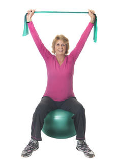 Woman on balance ball