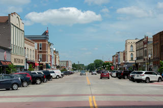 Small town retail district