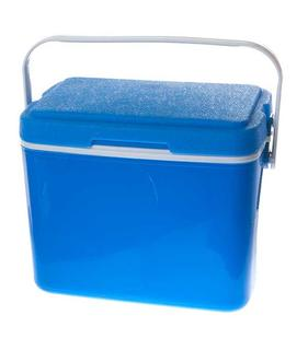 A blue food cooler.
