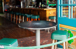 Empty bar stools at a closed business
