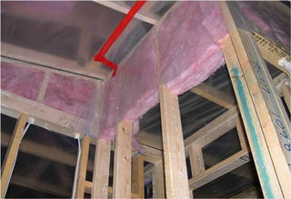Framing with insulation.