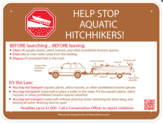 Help stop aquatic hitchhikers sign. MN DNR